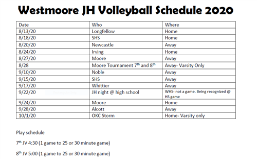 Volleyball Schedule 20-21