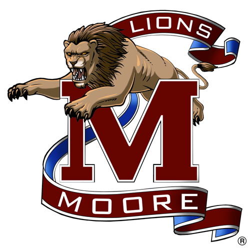 Moore High School Official Logo is a Lion leaping over a Capital M