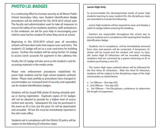 Parent Information / Student ID Policy