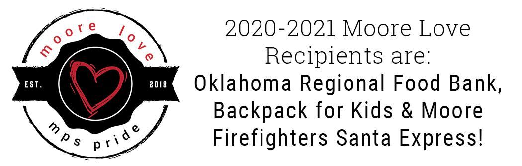 Image announcing recipients who are the Oklahoma Regional Food Bank and Moore Firefighters Santa Express